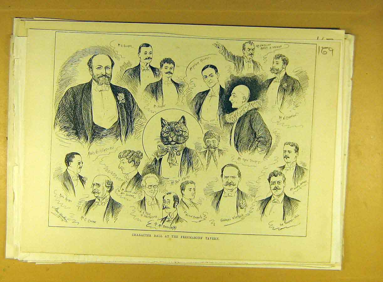 Print Character Ball Freemasons Tavern Sketches 698791 Old Original