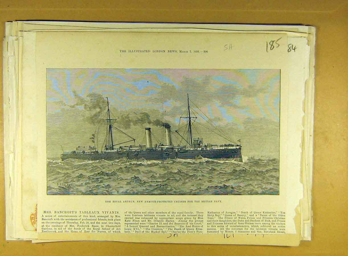 Print 1891 Royal Arthur Armour-Protected Cruiser British Navy 858791 Old Original