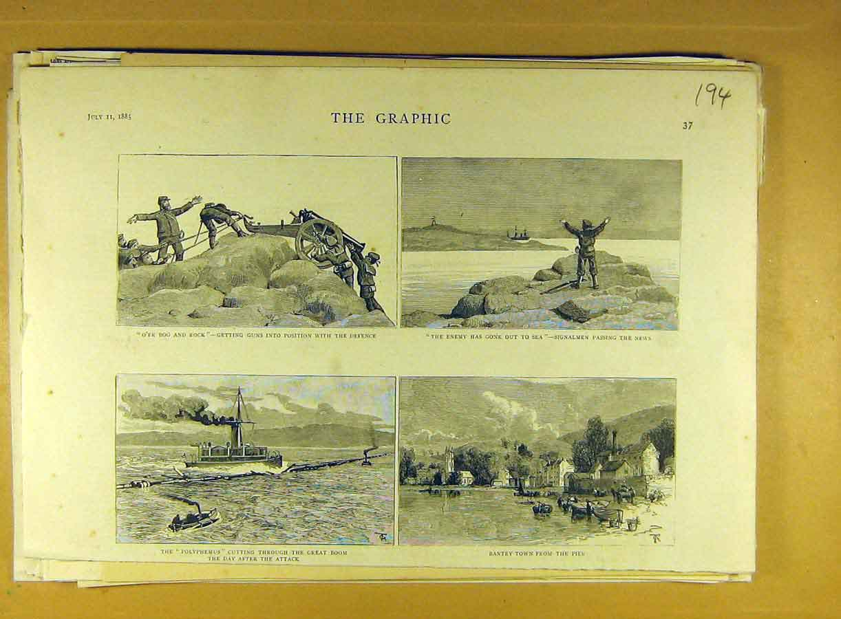 Print 1885 Military Guns Signal-Man Polyphemus Bantry Town 948791 Old Original