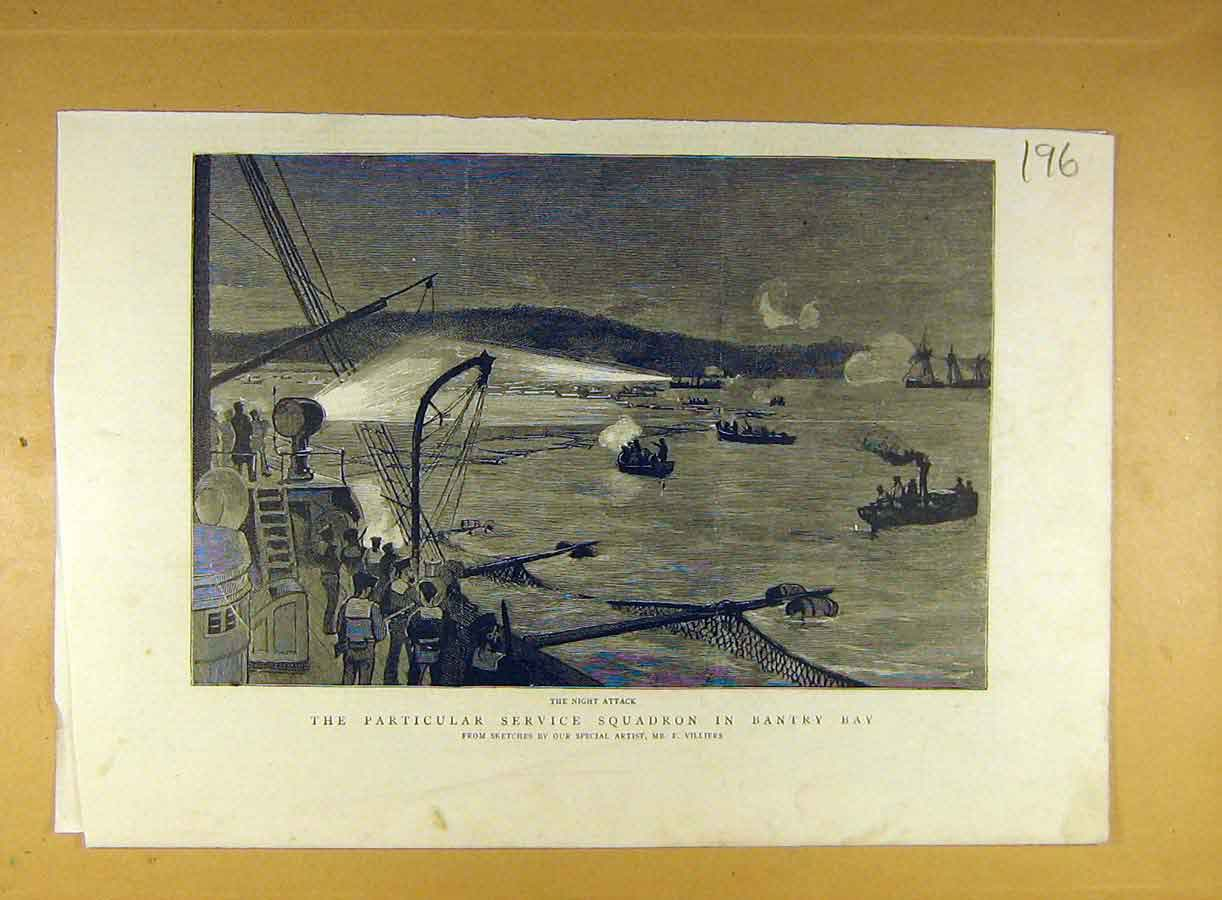 Print Service Squadron Bantry Bay Night Attack Villiers 968791 Old Original