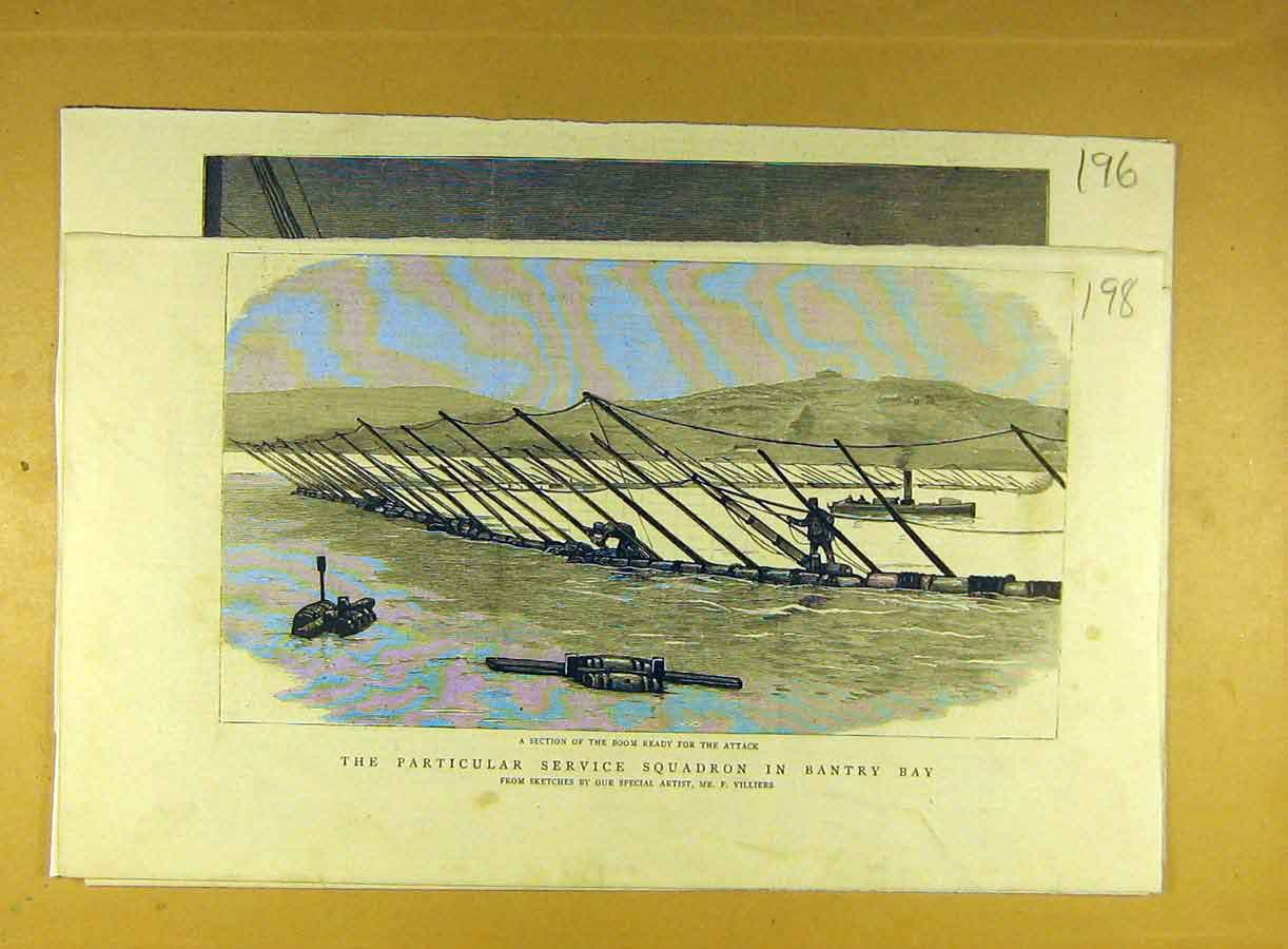 Print Bantry Bay Service Squadron Boom Section Villiers 988791 Old Original