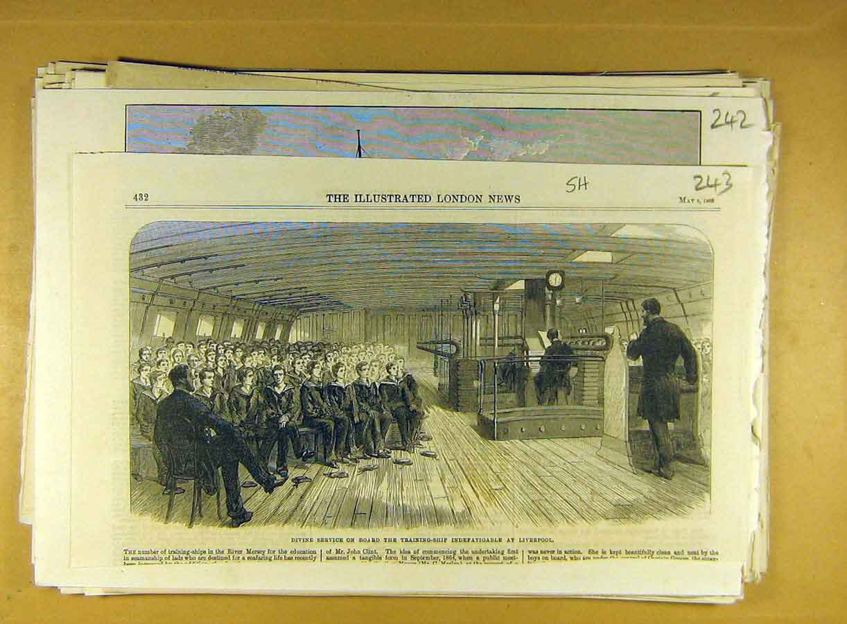Print 1866 Indefatigable Naval Training Ship Liverpool 438791 Old Original