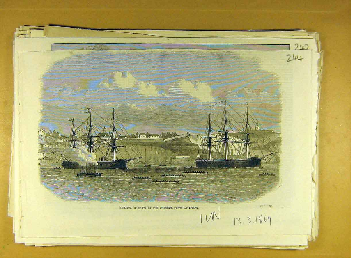 Print 1869 Regatta Boats Channel Fleet Lisbon 448791 Old Original
