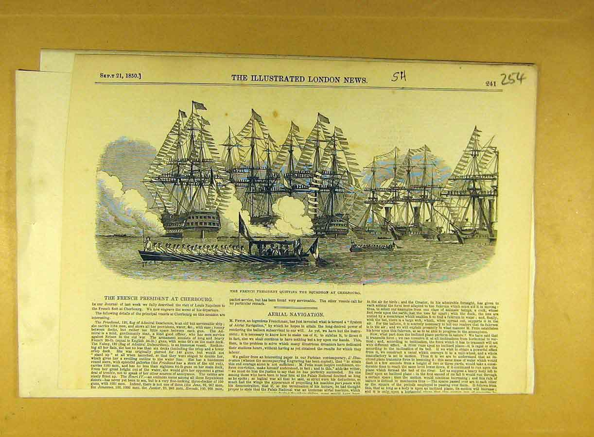 Print 1850 French President Squadron Cherbourg Naval 548791 Old Original