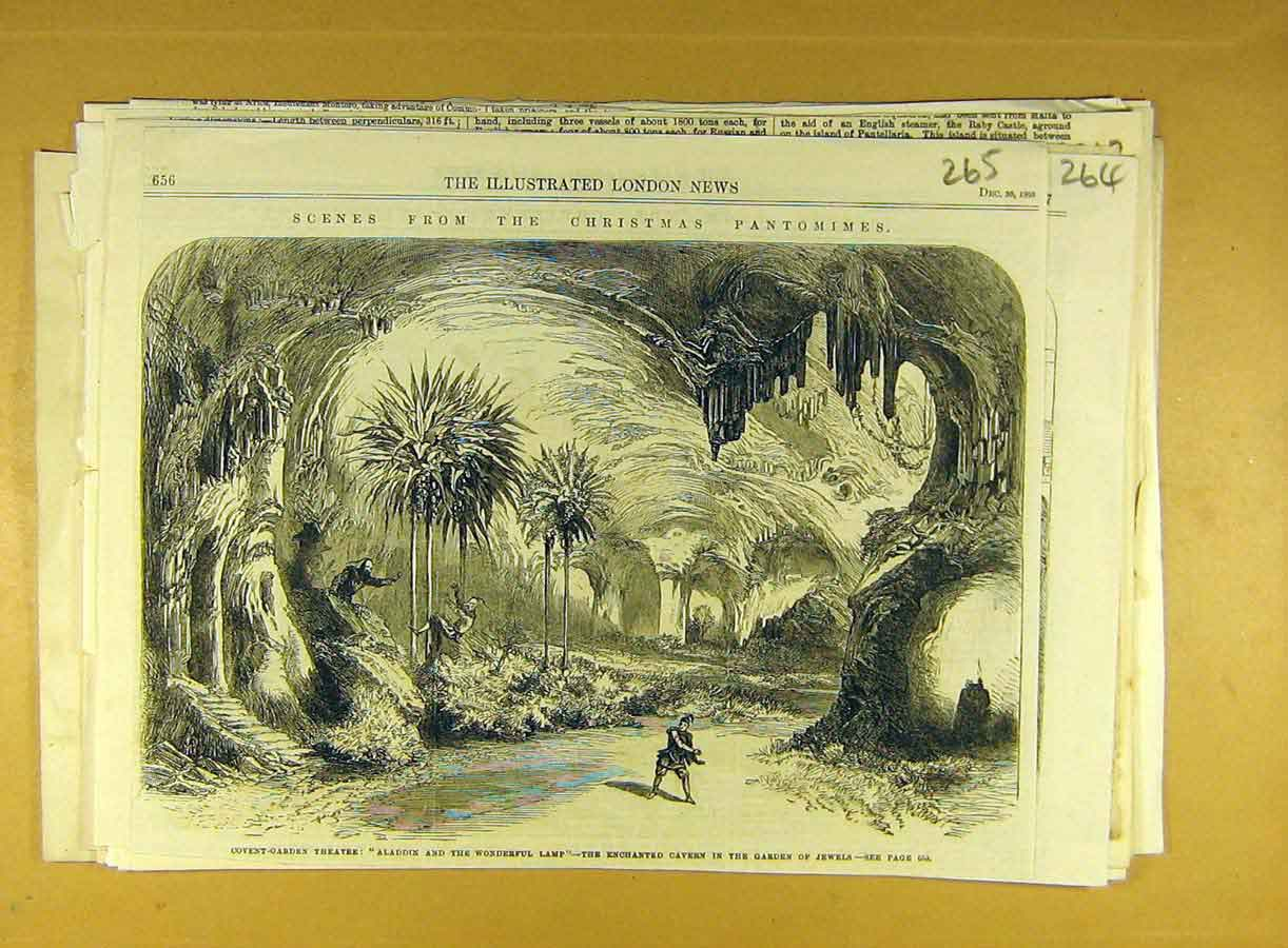 Print 1865 Christmas Pantomime Scenes Theatre Covent Garden 658791 Old Original