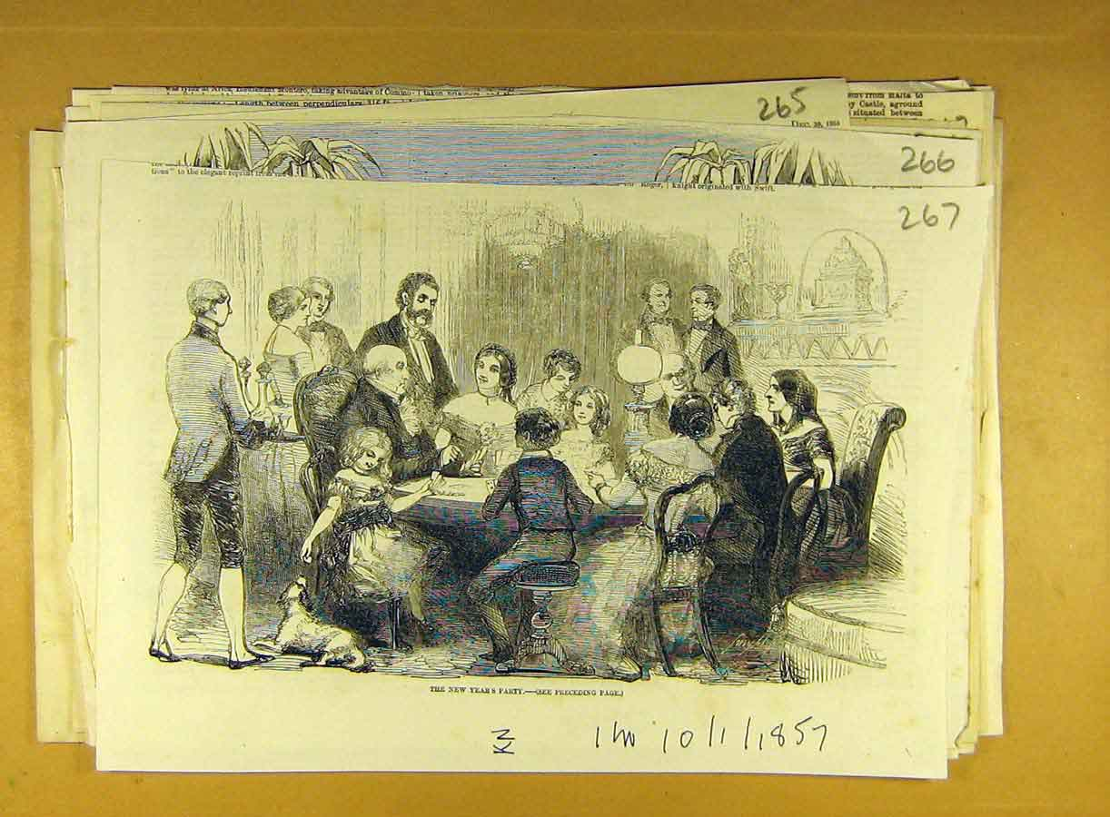 Print 1857 New-Year Party People Social History 678791 Old Original
