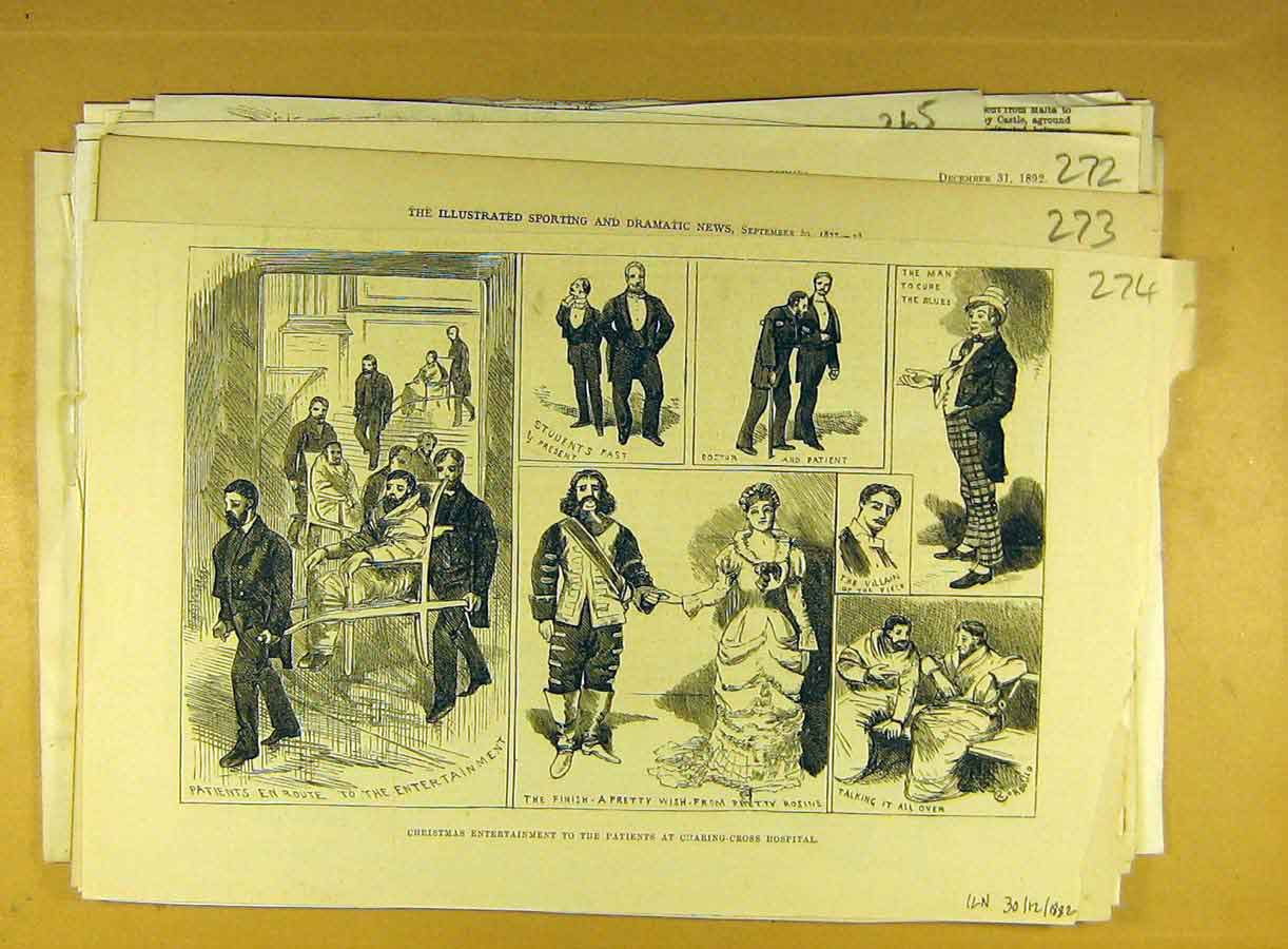 Print 1882 Charing-Cross Hospital Entertainment Theatre 748791 Old Original