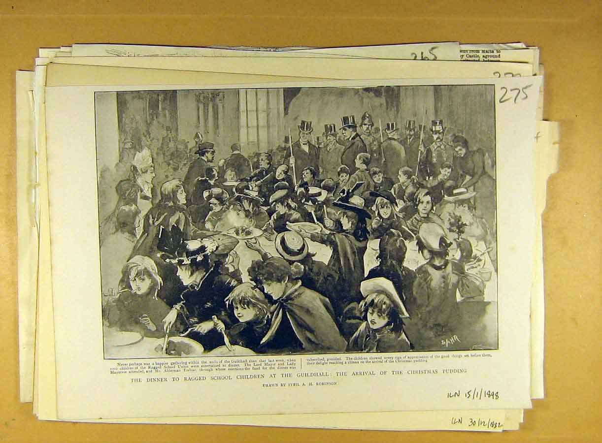 Print 1898 Dinner Ragged School Children Guildhall Christmas 758791 Old Original