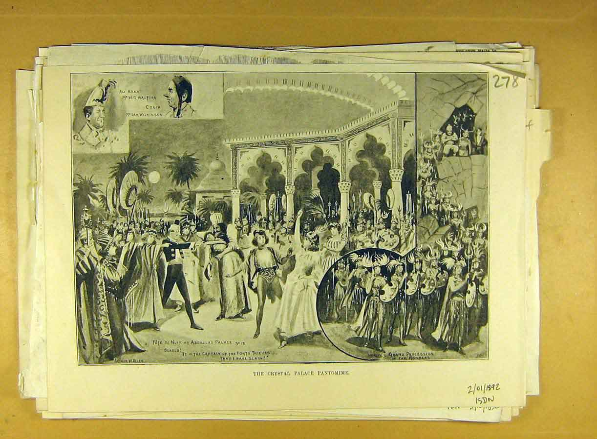 Print 1892 Crystal Palace Pantomime Scene Sketch 788791 Old Original