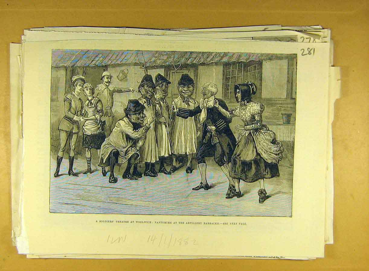 Print 1882 Soldiers Theatre Woolwich Pantomime Artillery 818791 Old Original