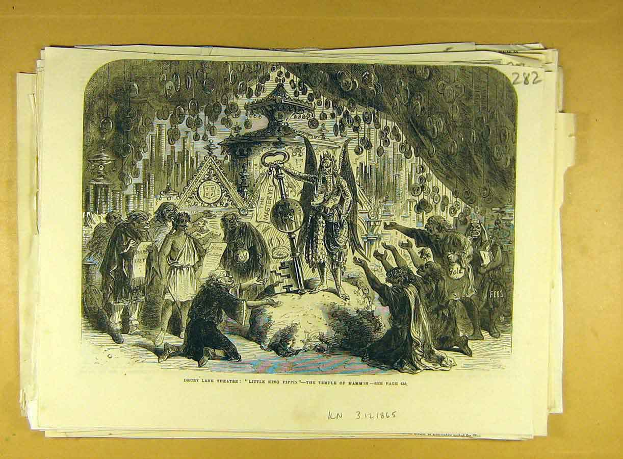 Print 1865 Drury Lane Theatre Temple-Mammon King Pippin Scene 828791 Old Original