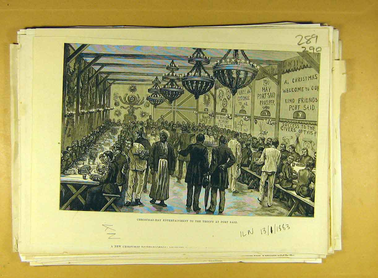 Print 1883 Christmas Day Troops Port Said Entertainment 908791 Old Original
