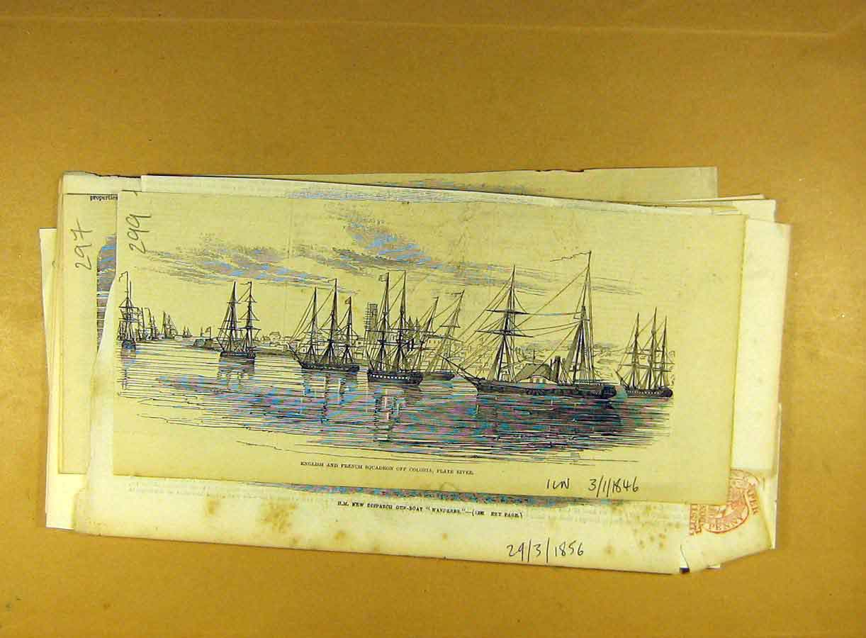 Print 1846 English French Squadron Colonia Plate River Ships 998791 Old Original