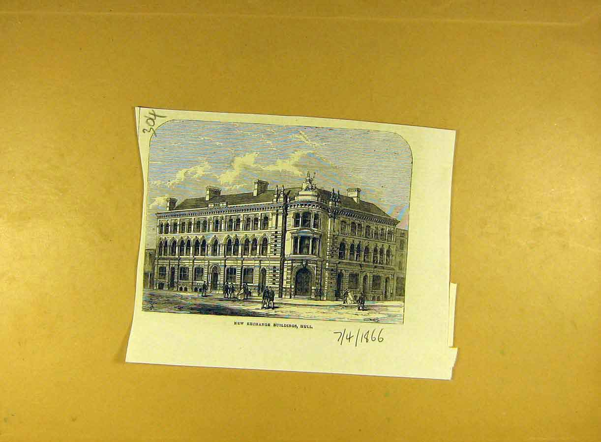 Print 1866 New-Exchange Buildings Hull Building Architecture 048791 Old Original