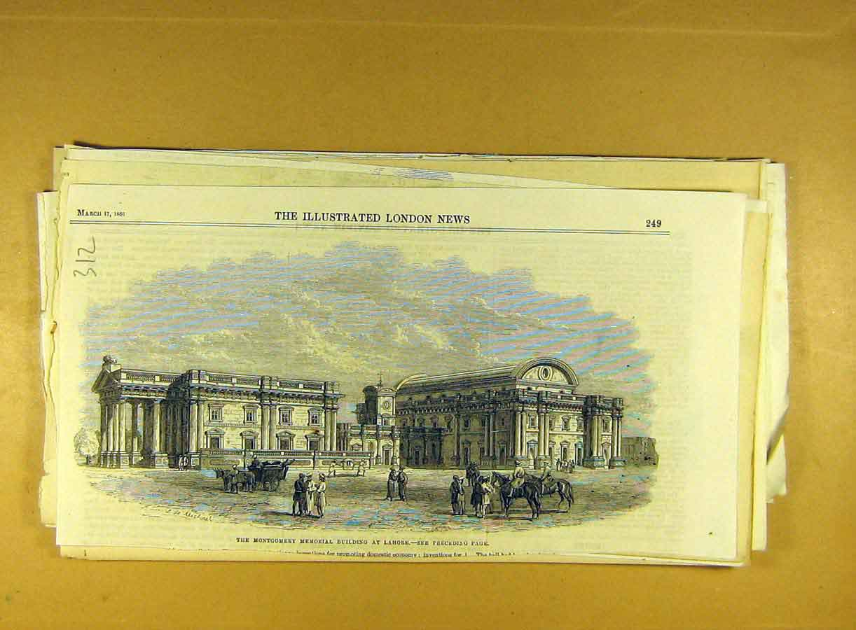 Print 1866 Montgomery Memorial Building Lahore India 128791 Old Original