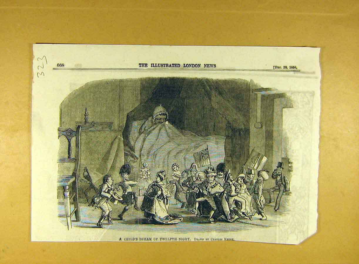 Print 1854 Child Dream Twelfth Night Keene Sketch 238791 Old Original
