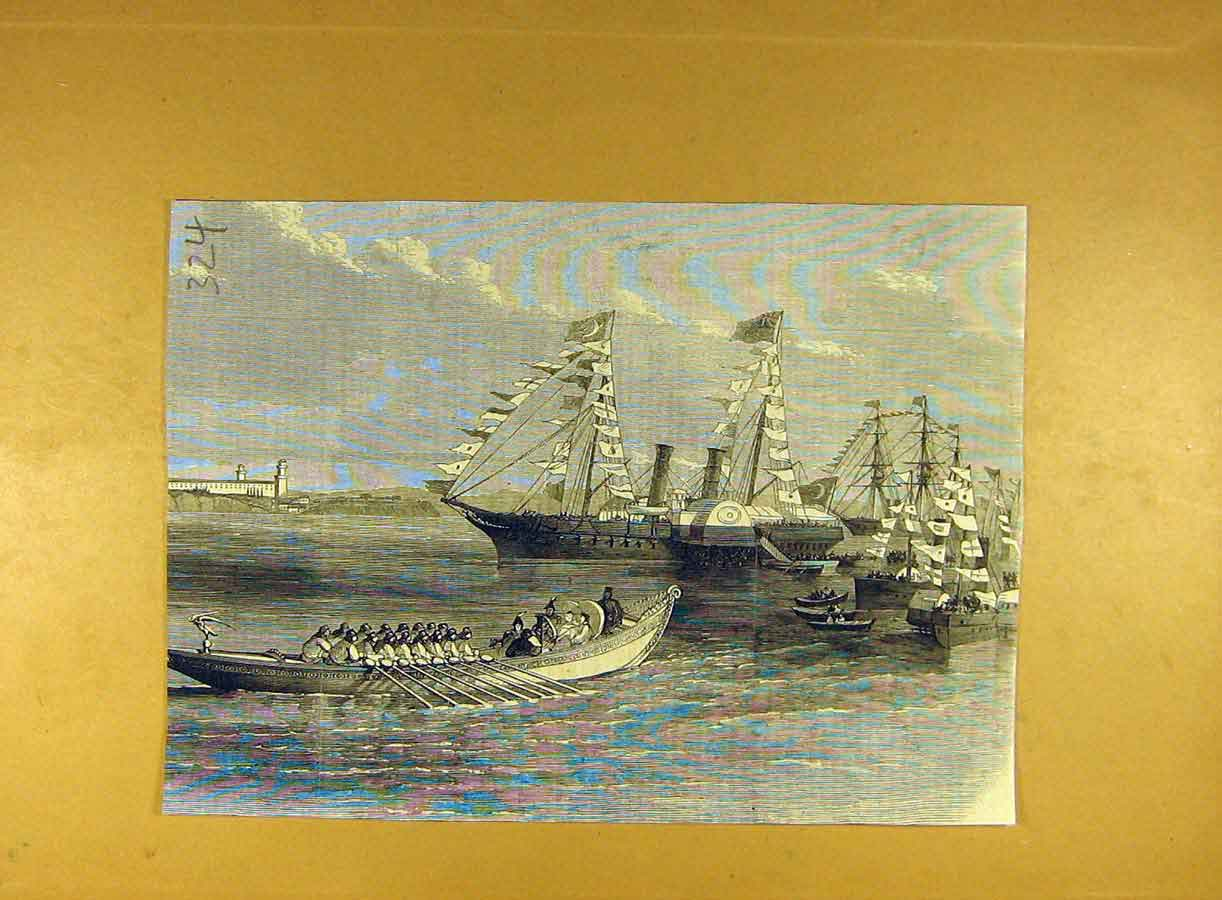 Print Ships Naval Boats Review China India Fleet Flotilla 248791 Old Original