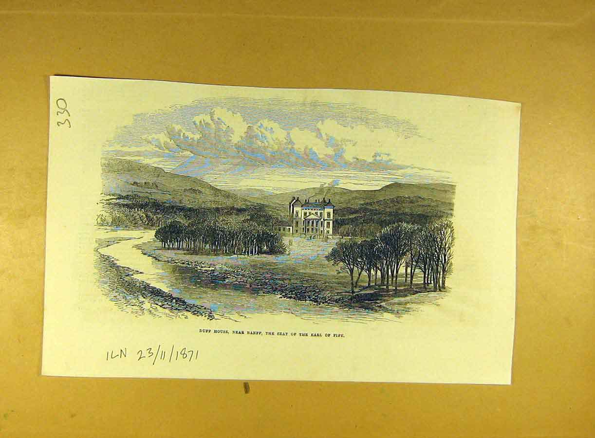 Print 1871 Duff House Banff Earl Fife Building View 308791 Old Original