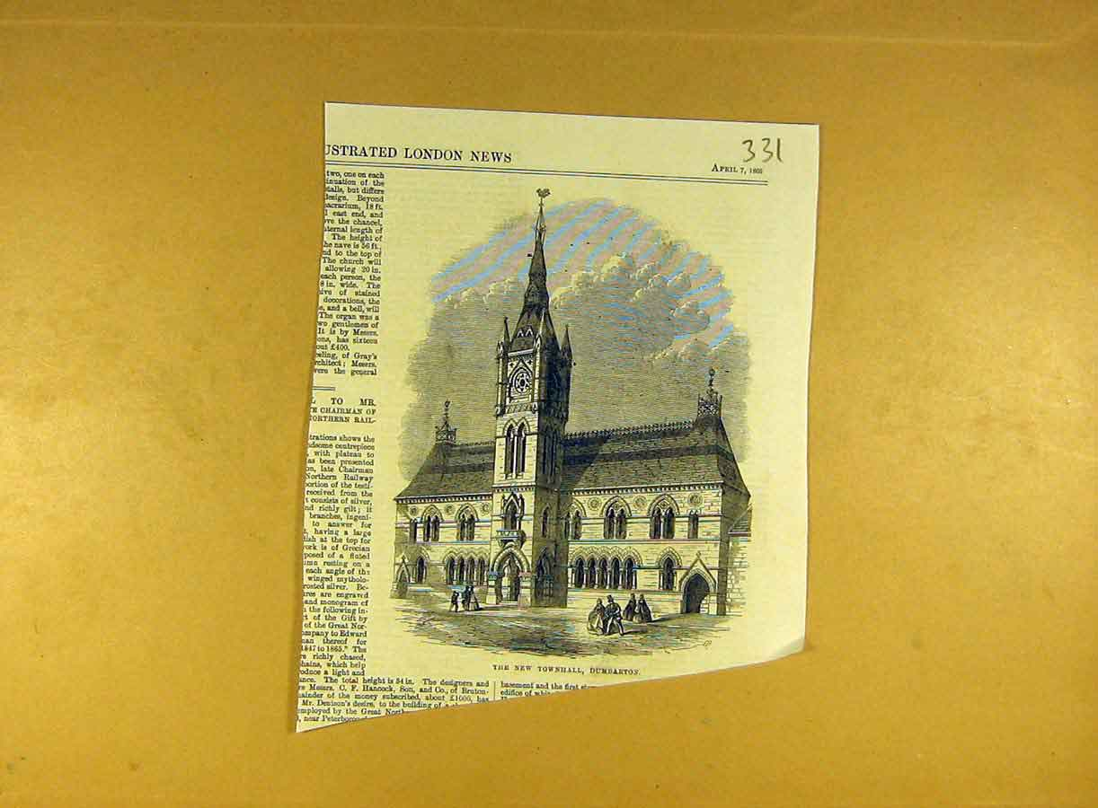 Print 1866 New-Townhall Dumbarton Building Architecture 318791 Old Original