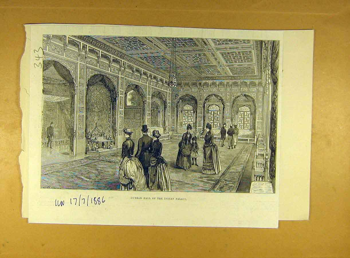 Print 1886 Durbar Hall Indian Palce India Building 438791 Old Original