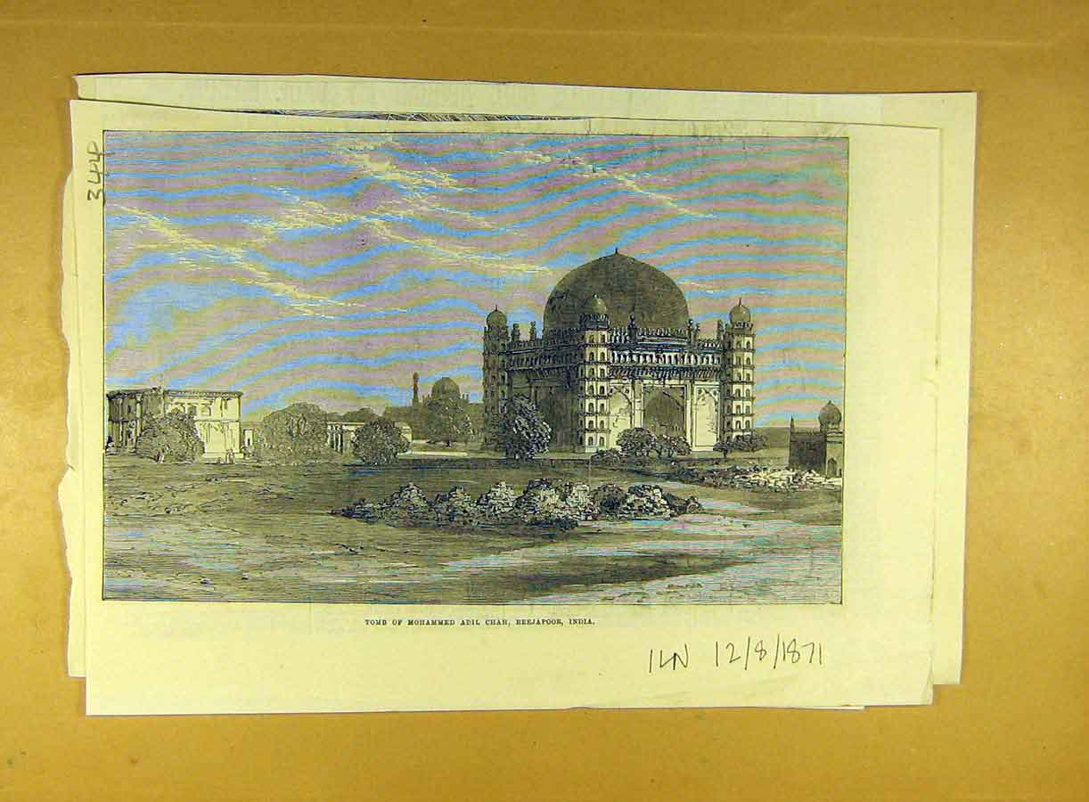 Print 1871 Tomb Mohmmed Adil-Chah Beejapoor India 448791 Old Original