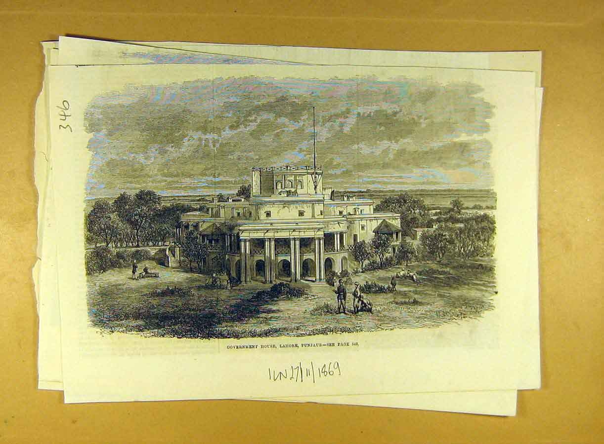 Print 1869 Government House Lahore Punjaub India 468791 Old Original