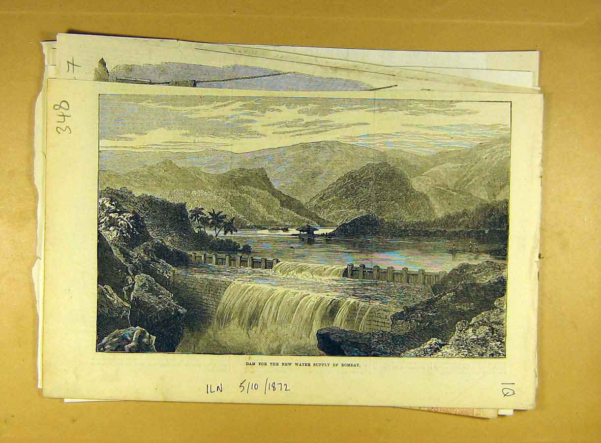 Print 1872 Dam Water-Supply Bombay India Indian 488791 Old Original