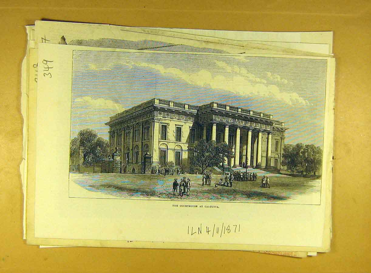 Print 1871 Courthouse Calcutta Building Architecture 498791 Old Original