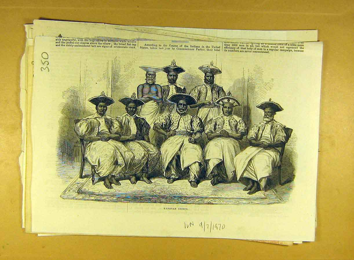 Print 1870 Kandyan Chiefs Portrait Group Chief Indian India 508791 Old Original