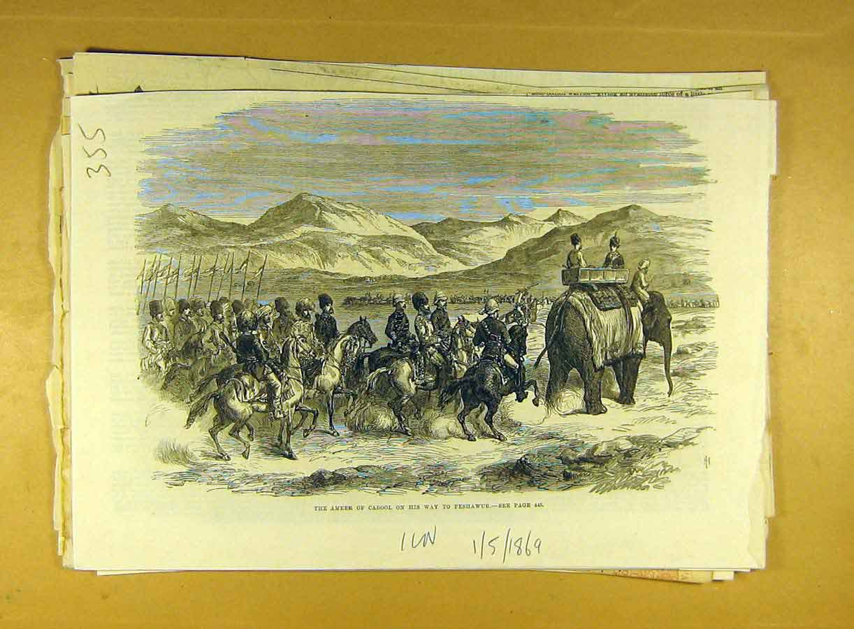 Print 1869 Ameer Cabool Peshawur India Elephants Military 558791 Old Original