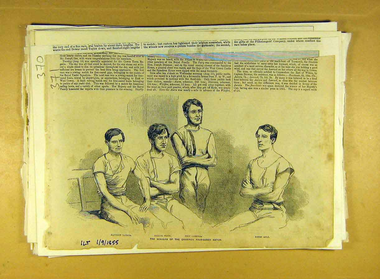 Print 1855 Winners Four-Oared Taylor Ault Carroll Wood Race 718791 Old Original