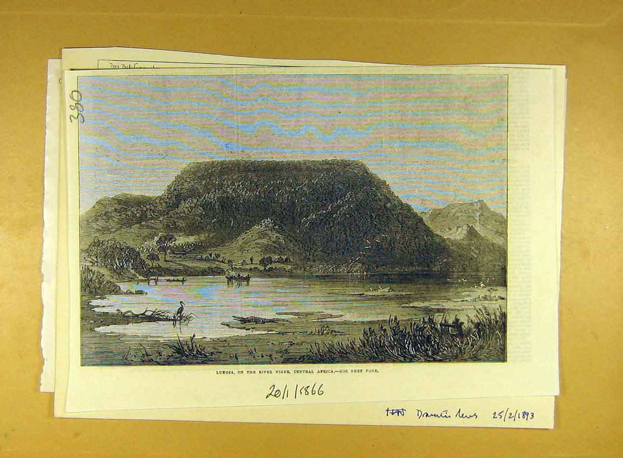 [Print 1866 Lukoja River Niger Africa View 808791 Old Original]