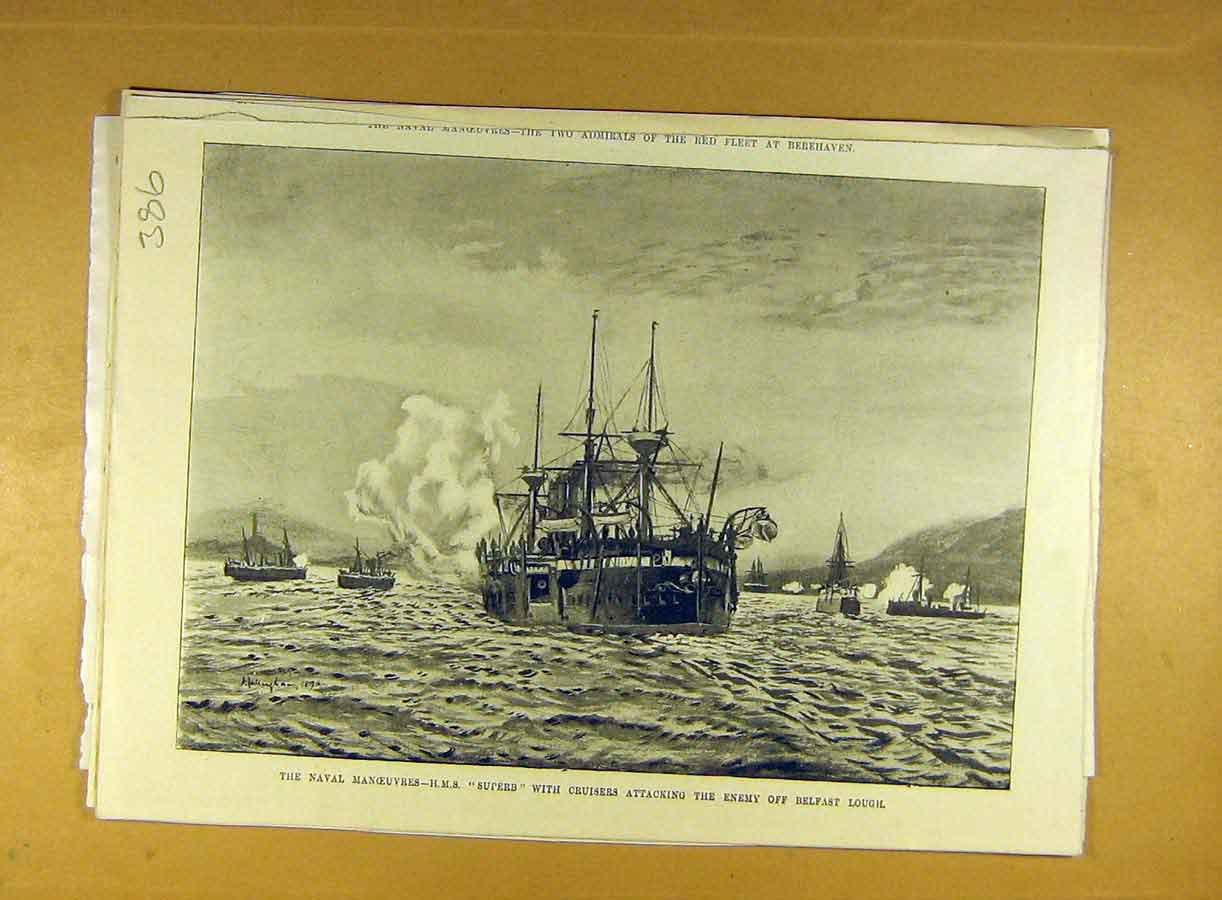 Print Naval Manoeuvres Hms Superb Cruisers Belfast Lough 868791 Old Original