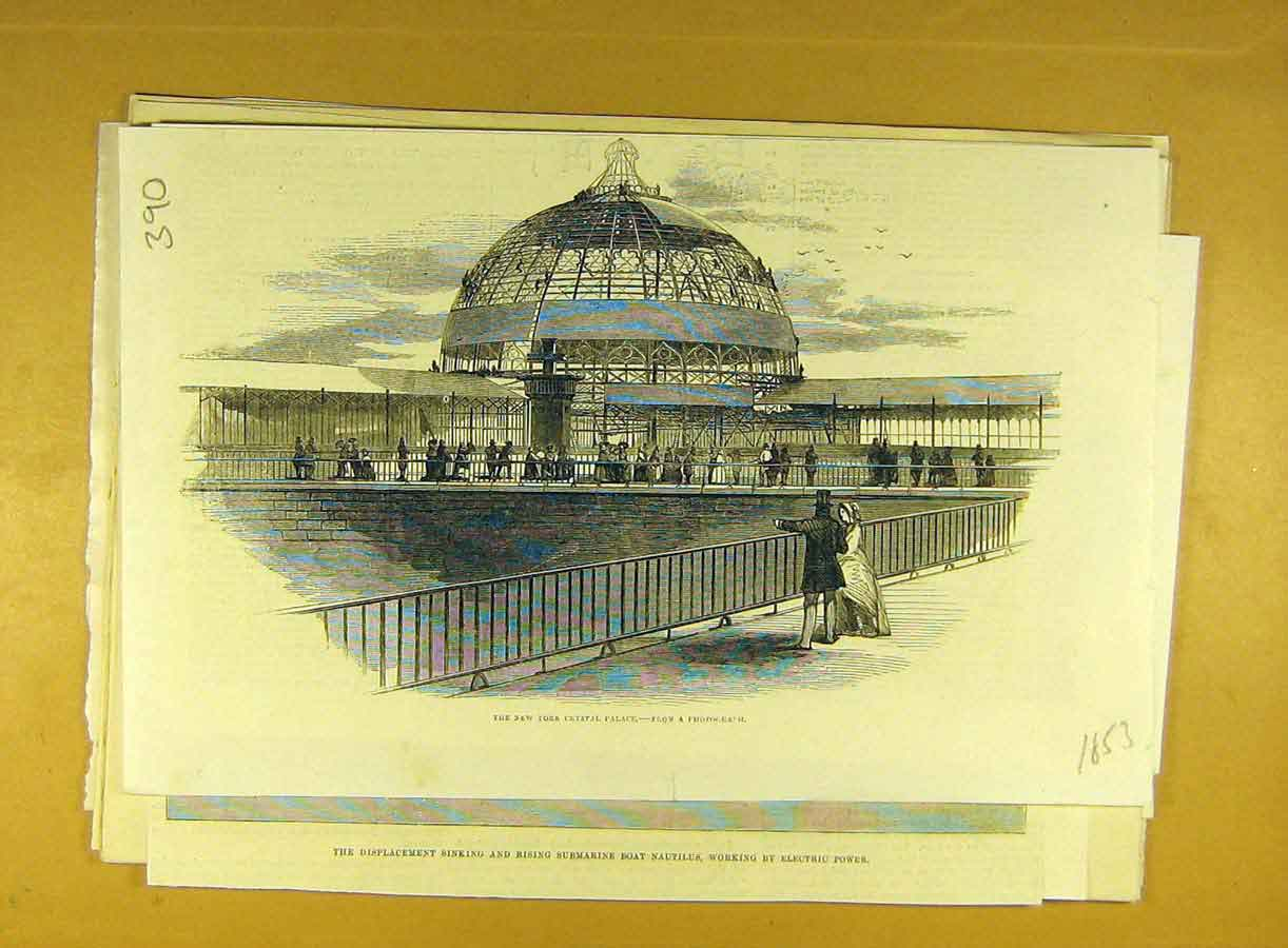 Print 1853 New-York Crystal Palace Sketch Social History 908791 Old Original