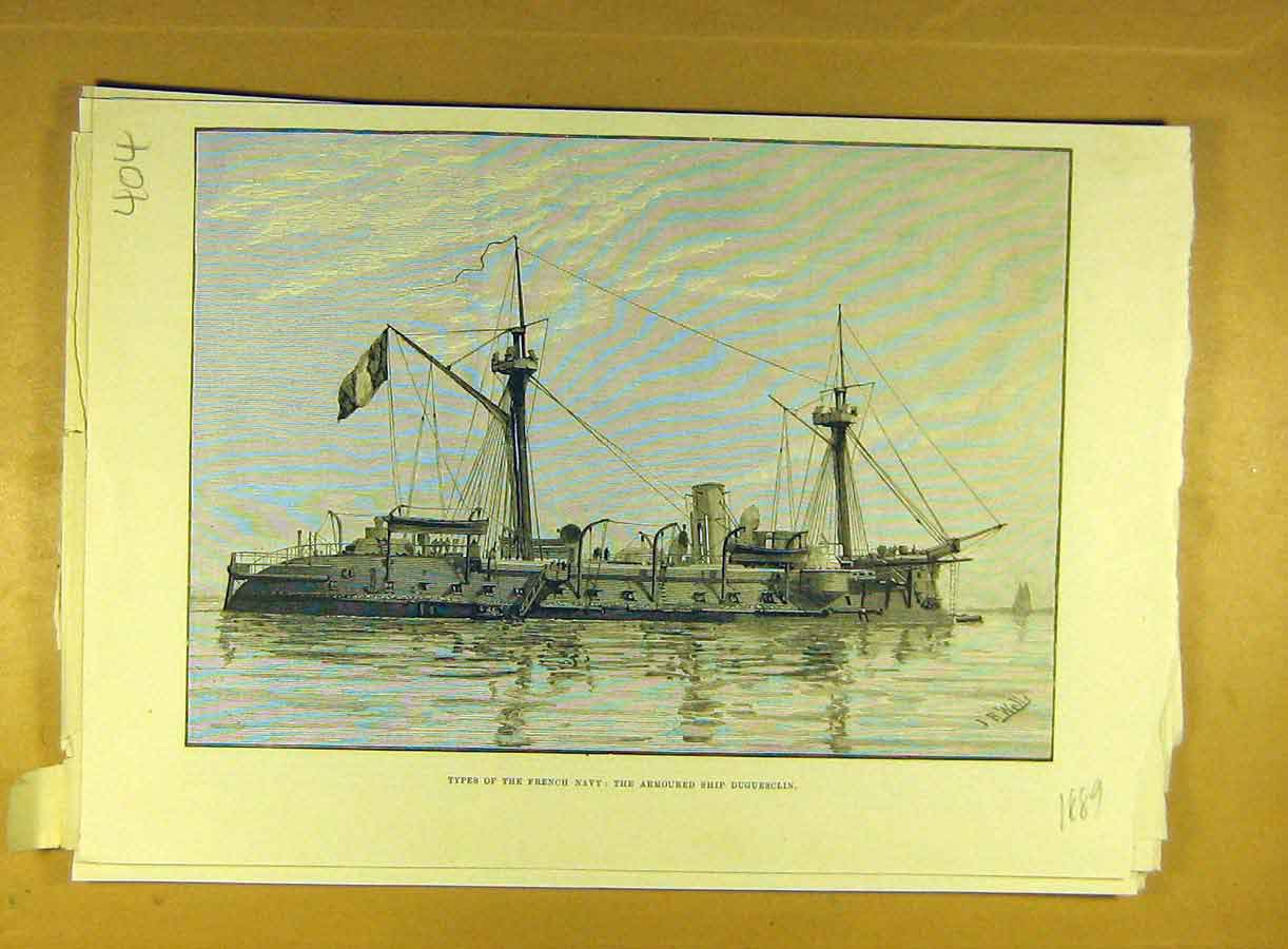 Print 1889 French Navy Armoured Ship Duguesclin Naval 048791 Old Original