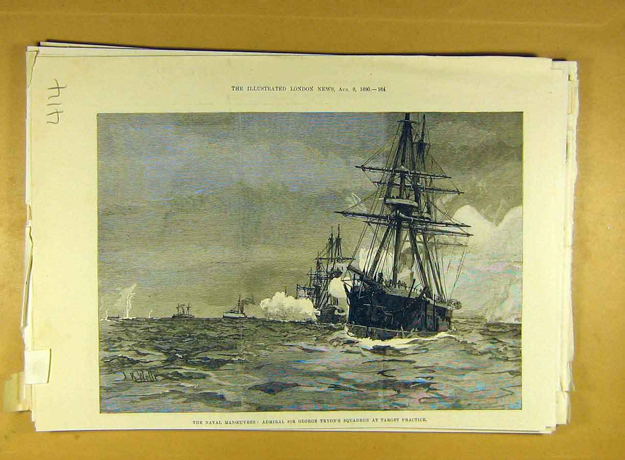 Print 1890 Naval Manoeuvres Tyron Squadron Target Practice 148791 Old Original