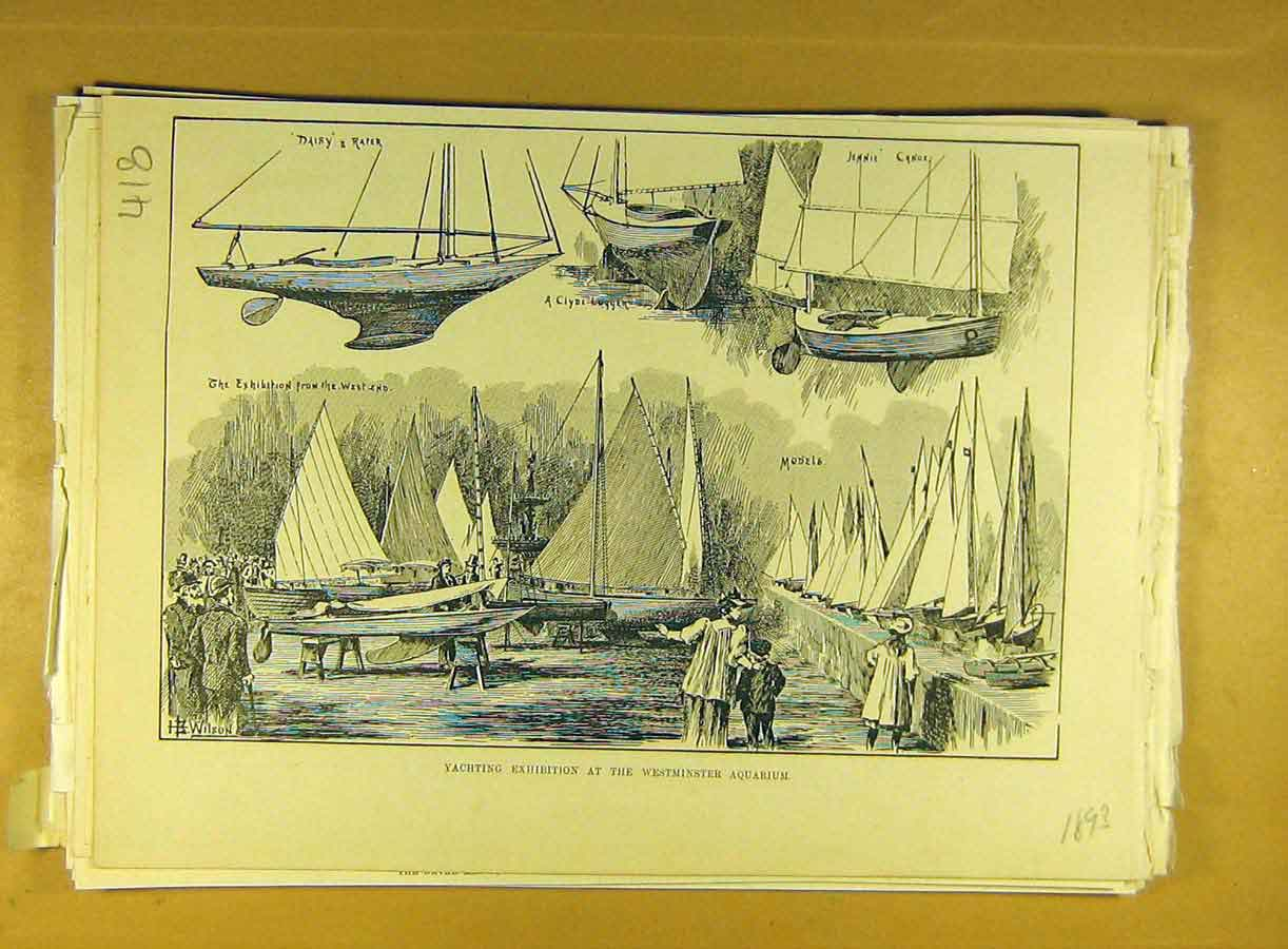 Print 1893 Yachting Exhibition Westminster Aquarium Yacht 188791 Old Original