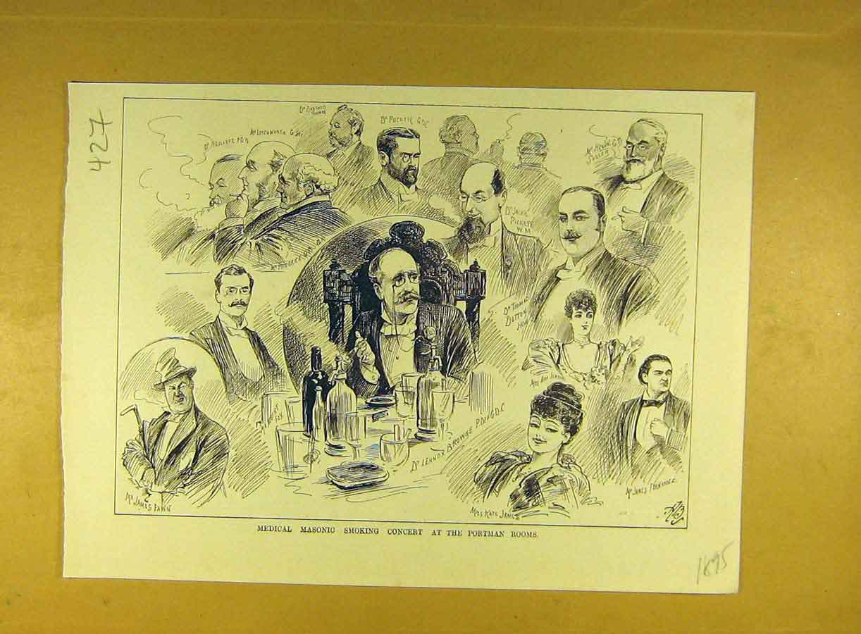 Print 1895 Medical Masonic Smoking Concert Portman-Rooms 278791 Old Original