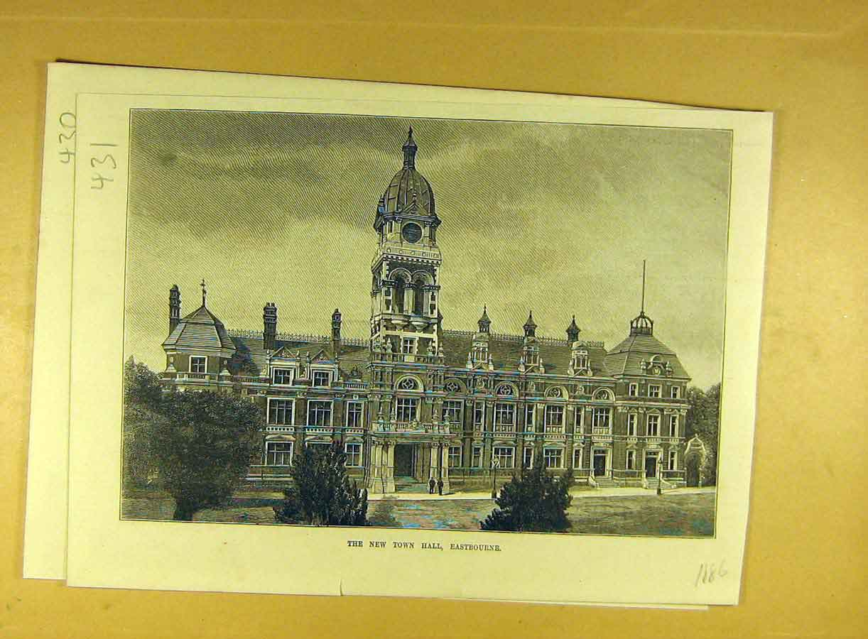 Print 1886 New-Town-Hall Eastbourne Building Architecture 318791 Old Original