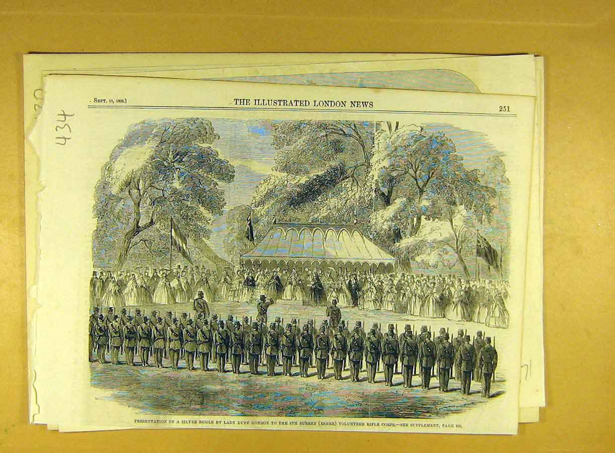 Print 1860 Silver-Bugle 6Th Surrey Esher Volunteer Rifle Corp 348791 Old Original