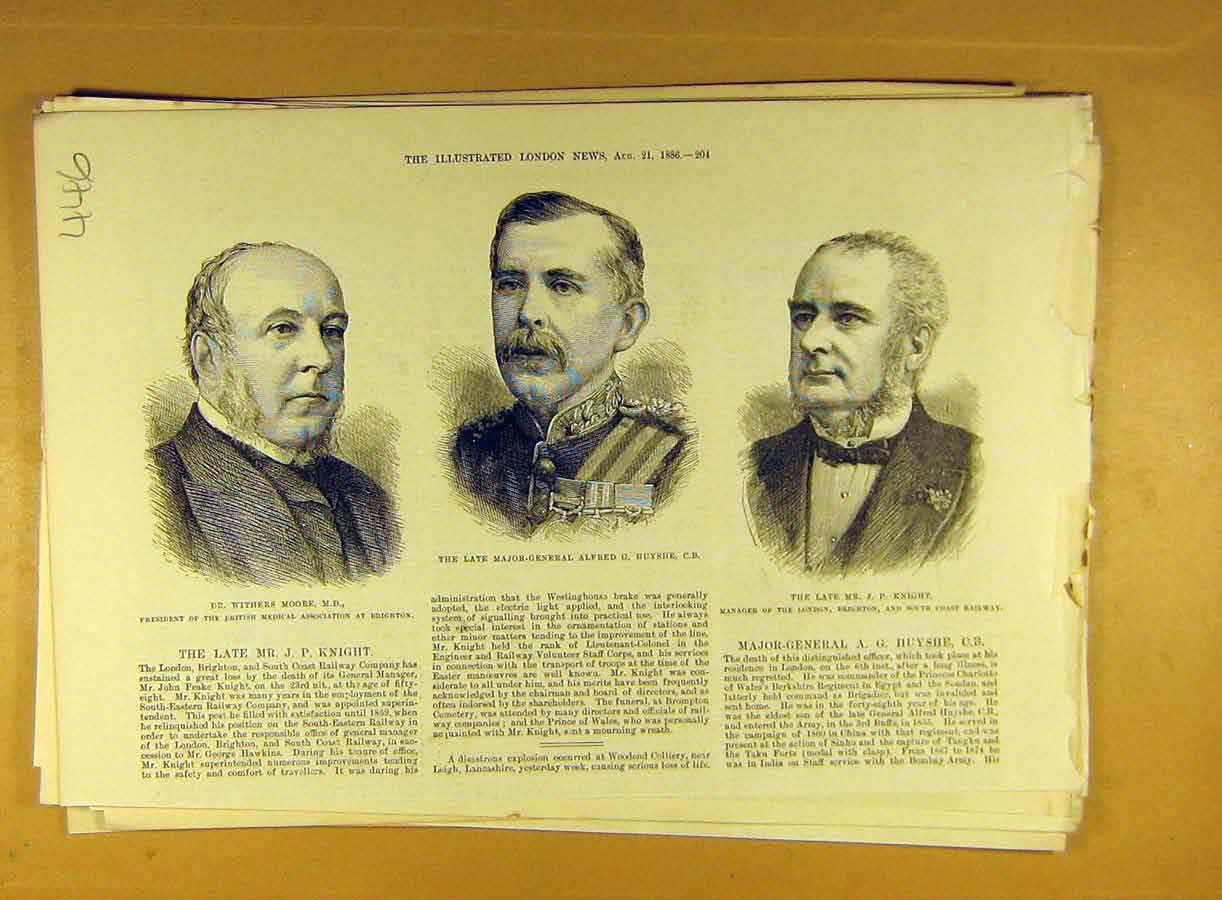Print 1886 Portrait Moore Medical Huyshe Military Knight 468791 Old Original