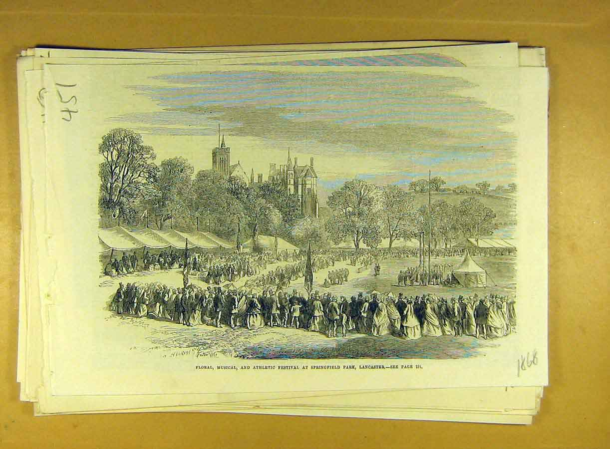 Print 1868 Floral Musical Athletic Festival Springfield Lancs 518791 Old Original
