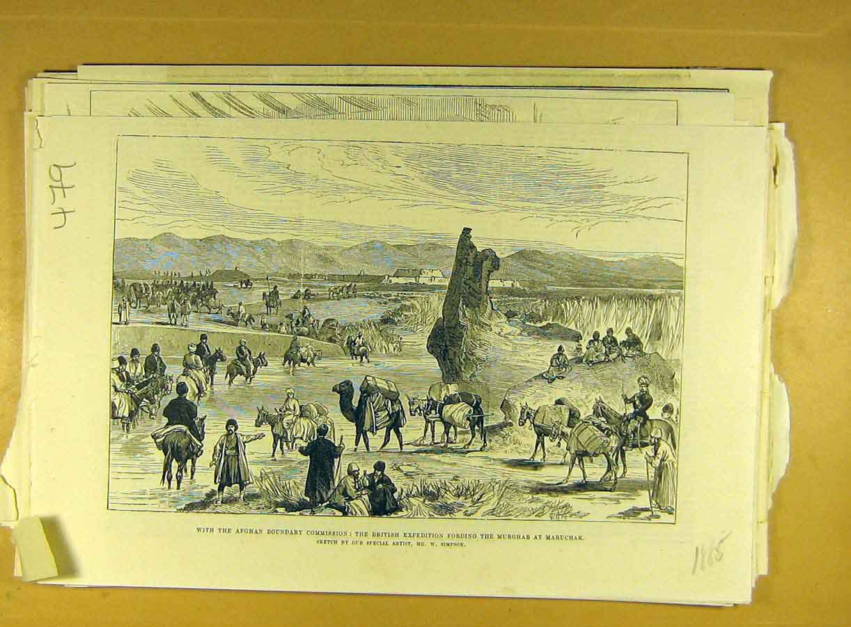 [Print 1885 Afghan British Expedition Murghab Maruchak Simpson 798791 Old Original]