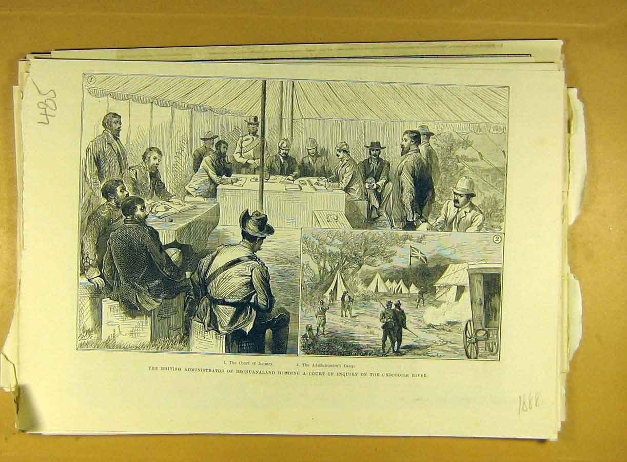 [Print 1888 Bechuanaland Court Inquiry Crocodile River Africa 858791 Old Original]