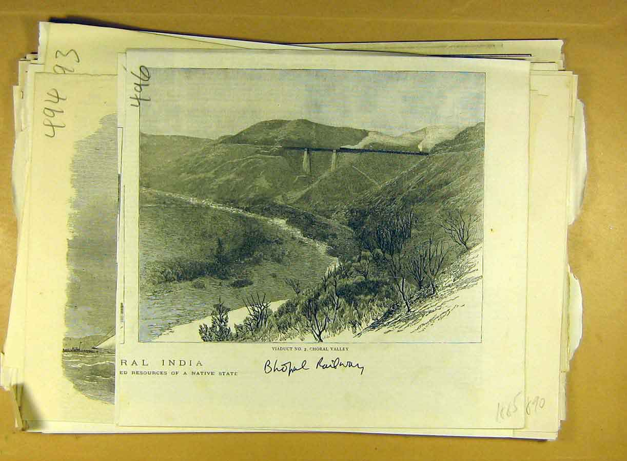 Print 1885 Bhopal Railway Choral Valley Viaduct India Indian 968791 Old Original
