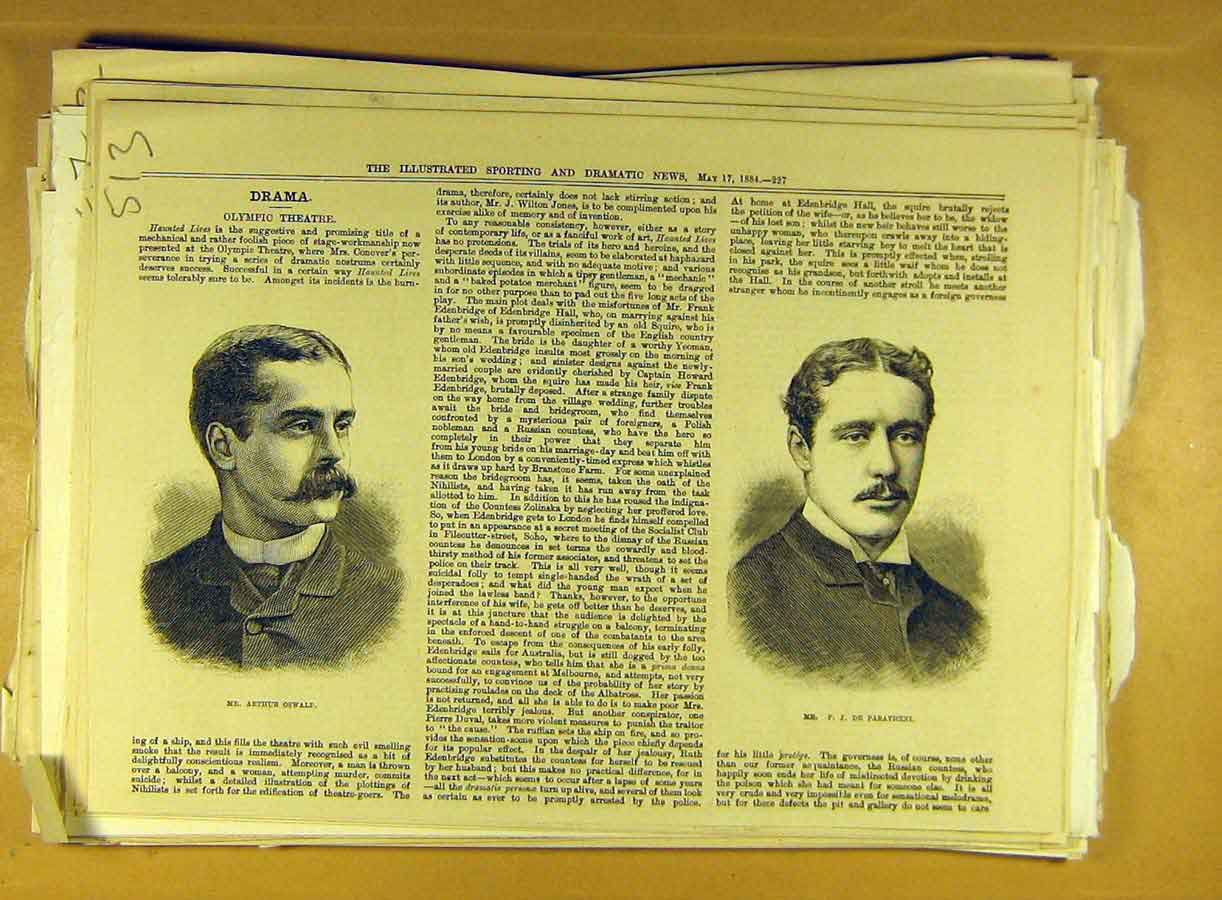 Print 1884 Theatre Portrait Oswald Paravicini Olympic Actor 138791 Old Original