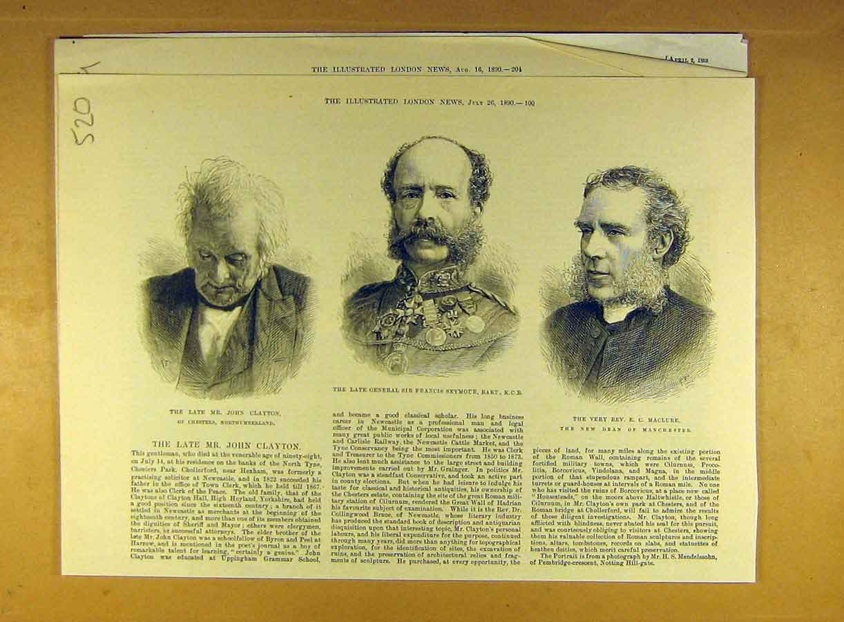 Print 1890 Portrait Clayton Seymour General Maclure Dean 208791 Old Original