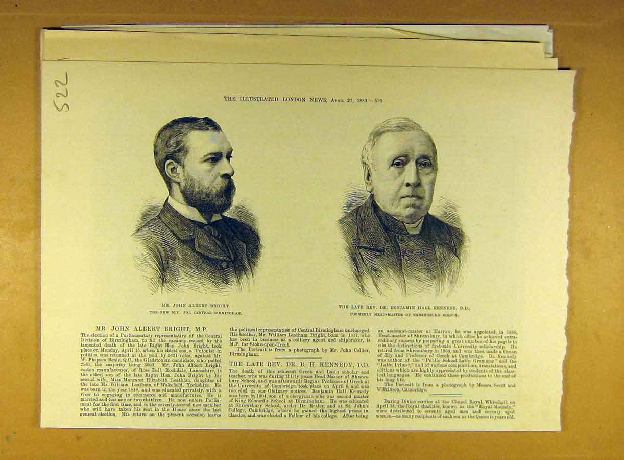 Print 1889 Portrait Bright Mp Birmingham Kennedy Shrewsbury 228791 Old Original