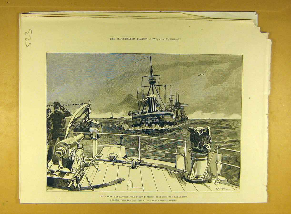 Print 1888 Naval Manoeuvres Longship Flag-Ship Navy 238791 Old Original