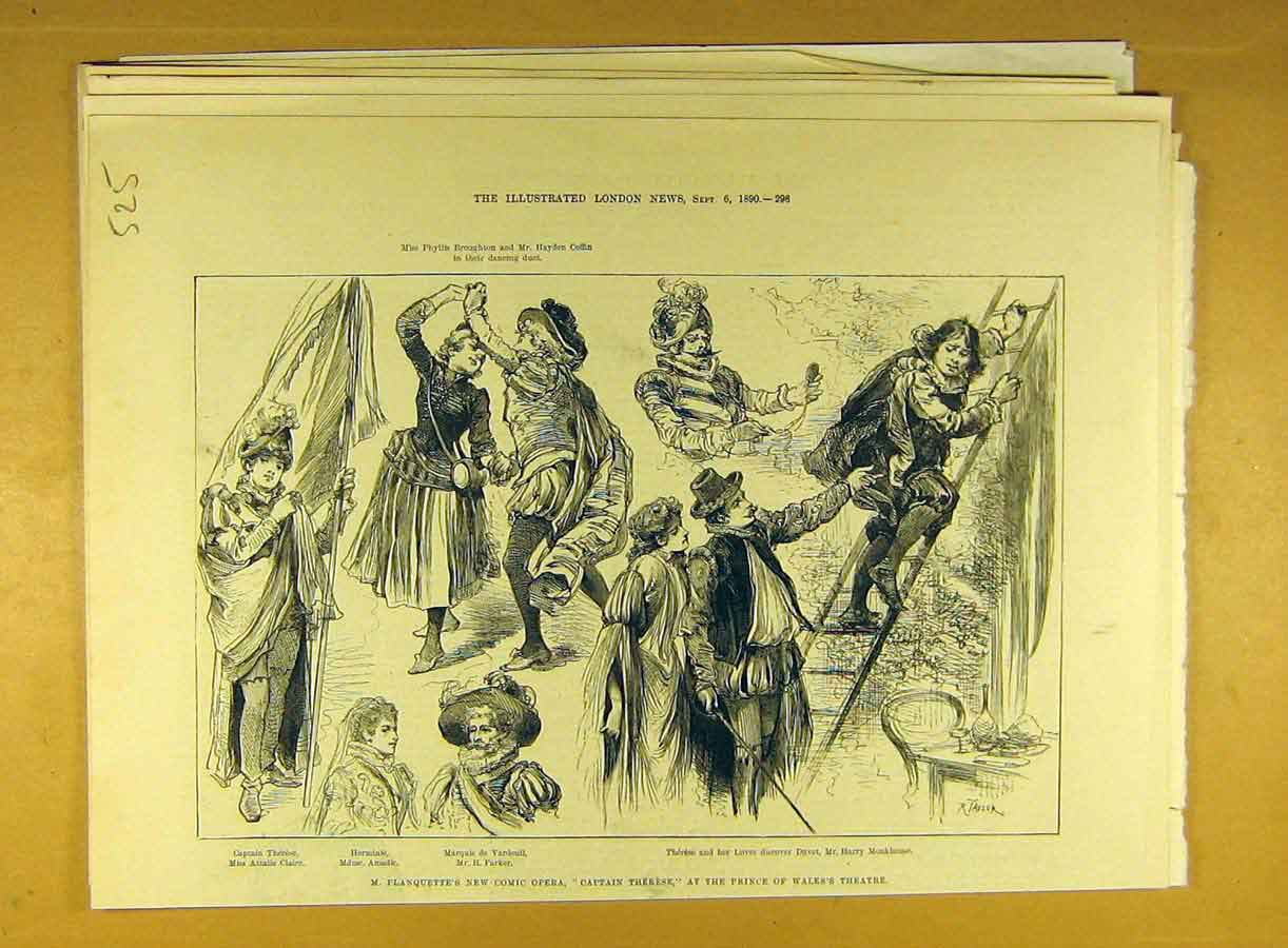 Print 1890 Planquette Comic Opera Theatre Scene Actors 258791 Old Original